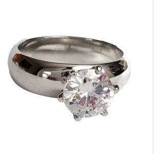 Silver Plated Solitaire Ring 3 CTW CZ